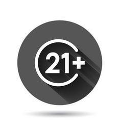 Twenty one plus icon in flat style 21 on black vector