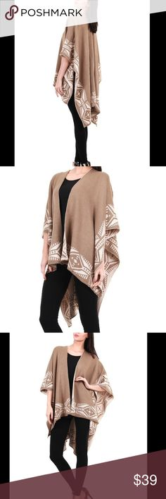 Aztec Tribal Cardigan Ruana Shawl Soft and Comfortable Cardigan! Taupe Color, Acrylic, One Size Sweaters Cardigans