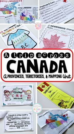Proud to be Primary's A Trip Across Canada ~ Canadian Province, Territories, & Mapping social studies unit. Teach your students about the 13 Canadian province and territories and about Canadian geography and mapping! Social Studies Activities, Teaching Social Studies, Activities For Kids, Educational Activities, Canada For Kids, Canada 150, Canadian Social Studies, Geography For Kids, Teaching Geography