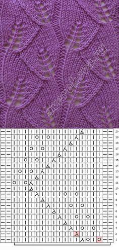 Blatt-Muster - - Lilly is Love Lace Knitting Stitches, Lace Knitting Patterns, Knitting Charts, Free Knitting, Baby Knitting, Stitch Patterns, Sewing Basics, Knit Crochet, Knit Lace