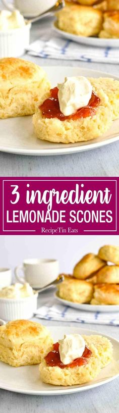 Scones - 3 Ingredients From Scratch Lemonade Scones - Moist, fluffy scones from scratch, made with just flour, cream and lemonade. These are a miracle! 3 Ingredient Scones, 3 Ingredient Recipes, Lemonade Scone Recipe, Breakfast Recipes, Dessert Recipes, Cookie Desserts, Cheesecake Recipes, Snack Recipes, Recipetin Eats