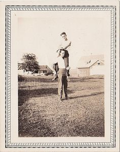 Antique Photograph Man Sitting on Another Man's Shoulders Gay Interest