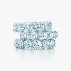 Tiffany shared-setting band rings in platinum with diamonds. #TiffanyPinterest