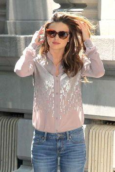 embellished mauve blouse, miranda kerr style
