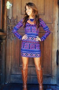 Cute dress and boots!