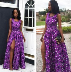 Manche courte et pte fente Long African Dresses, African Print Dresses, African Print Fashion, African Wear, African Attire, African Fashion Dresses, African Style, Ankara Fashion, Afro