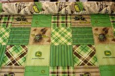 Mix of high quality fabrics with John Deere fabrics. Baby quilt idea for nephew.