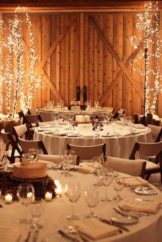 winter ranch wedding decor and food