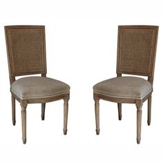 $484.99 Casual Living Weathered Vintage French Cane Back Linen Dining Chairs (Set of 2) | Overstock.com