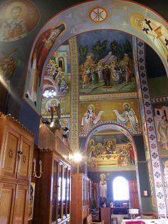 Themis Petrou - Ksiropotamou Monastery - Find Creatives Byzantine Icons, Byzantine Art, Saint Anthony Church, Nashville Tennessee, Athens Greece, Fresco, Saints, My Arts, Scene
