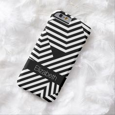 Add fashion and flair to your personal style with this trendy and bold black and white geometric stripes pattern slim #iPhone6case. Personalize this graphic modern and stylish design with triangles and chevron zigzag blocks by adding the name of any girly girl.