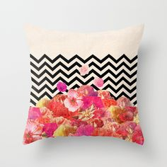 Flower and Chevron Pillow