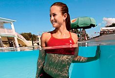 Improve Flexibility (and Cool Off) by Stretching in the Pool // woman stretching in the pool c Stephen Frink