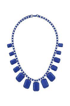 Blue Square Link Necklace
