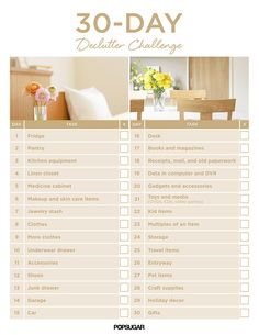 Take your home from messy to impressively organized in just 30 days with this printable