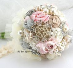 Brooch Bouquet Wedding Bouquet in Light Pink, Grey, Champagne and Ivory Vintage Inspired