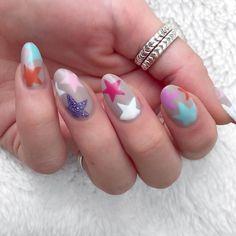 star nail art design | color combo | stiletto | acrylic | glitter | matte