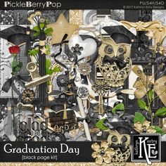 Graduation Day - Black Page Kit :: Coordinates with the entire Graduation Day Digital Scrapbooking Collection by Kathryn Estry @ PickleberryPop $7.99