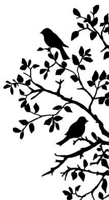 Birds on Branch Silhouette: