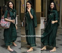 While out and about, Kiara Advani was seen in a green kurta set by Libas. A pair of cream color printed juttis and an over-sized printed tote completed her look! Indian Dresses For Women, Indian Bridal Outfits, Indian Designer Outfits, Casual Indian Fashion, India Fashion, Dress Indian Style, Indian Wear, Silk Kurti Designs, Choli Blouse Design