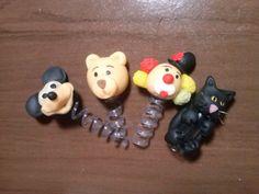 ponteiras de lápis biscuit mickey, urso, gato e palhaço