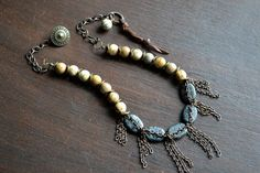 Beaded fringe necklace, Vintage style necklace, Picture jasper necklace, Earthy gemstone necklace, Brown black cream, beaded chain necklace