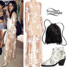 Camila Cabello attended Day 3 of Coachella Valley Music and Arts Festival wearing a For Love & Lemons Elenora Maxi Dress ($316.00), an H&M Backpack with Fringe ($24.99) and Sol Sana Stella Ankle Boot (Sold Out).