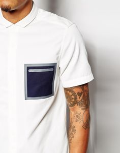 ASOS - Shirt In Short Sleeve With Heat Seal Pocket Detail