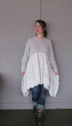 XLarge 1X plus Eco upcycled clothing / Romantic Artsy dress /