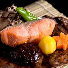 Nikko Salmon (Yashio trout) grilled in magnolia leaves with homemade miso