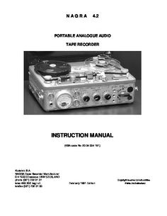 Nagra 4.2 - Tape Recorder - Instruction Manual - Instant Download