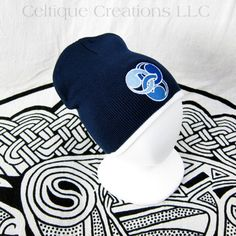 Stylized Trinity Knot Beanie Navy White Celtic Knit Winter Cap Blue | celtique_creations - Accessories on ArtFire