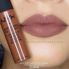 makeup braids nails fashion Nyx soft matte lip cream in Dubai Demo. Nice nude lipstick to Add this to your makeup kit, bag or collection. Nyx Makeup, Makeup Swatches, Kiss Makeup, Love Makeup, Makeup Kit, Hair Makeup, Nyx Lipstick, Lipstick Colors, Lip Colors
