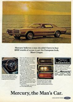Items similar to 1966 Ford Mercury Cougar Car Ad Vintage Automobile Advertisement Print Garage / Man Cave Wall Decor on Etsy Vintage Advertisements, Vintage Ads, Mercury Cars, Ford Lincoln Mercury, Car Advertising, Us Cars, Old Ads, Ford Motor Company, Retro Cars