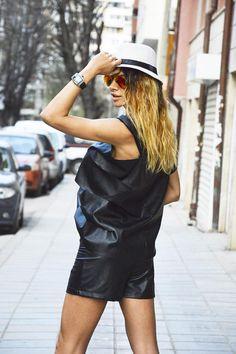 Black Eco Leather Set, Fashion shorts, Urban Style Casual Top, Faux Leather Shirt, High Waist Shorts, Extravagant Tunic by SSDfashion