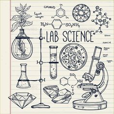 Hand Drawn Science Lab Icons Sketch Set  - Health/Medicine Conceptual