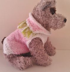 pink and green fringed dog sweater
