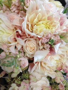 Blush dinnerplate dahlias take this wedding to a whole new level. Straight from my gardens. Yum