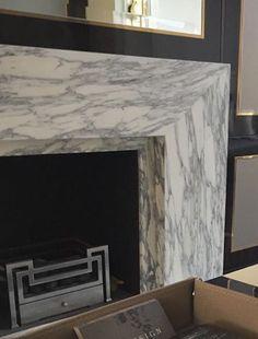 Stone slab fireplace surround