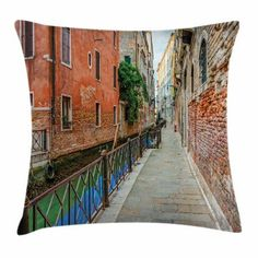 Venice Throw Pillow Cushion Cover, Empty Idyllic Streets of Venezia Travel Destination Romantic Vacation Old Buildings, Decorative Square Accent Pillow Case, 20 X 20 Inches, Multicolor, by Ambesonne #romantictravel #romantictraveldestinations