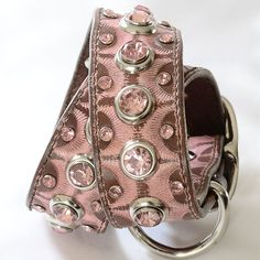 Pink Recycled Leather Dog Collar