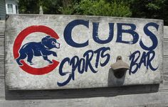 Chicago Cubs   baseball Sign , original, hand painted,sports decor , faux vintage, wooden  sign, on Etsy, $89.00