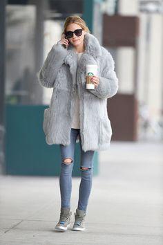 Grey fur & jeans