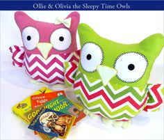 Sleepy Time Stuffed Owls with Fairfield - wouldn't they make a great gift along with a storybook.  | Sew4Home
