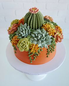 Buttercream Succulents Decorate Edible Planters by Leslie Vigil Cake decorating ideas Pretty Cakes, Cute Cakes, Beautiful Cakes, Amazing Cakes, Cupcakes Succulents, Edible Succulents, Cactus Cake, Cactus Cupcakes, Cactus Cactus
