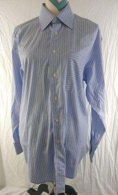 5935582128c Ted Baker London Size 16 Large Blue White Striped LONG SLEEVE SHIRT   tedbaker  mensfashion