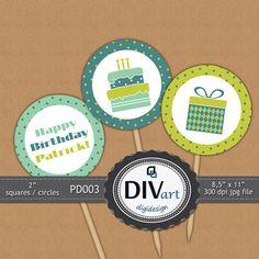 PRINTABLE Party Decorations PD003  2 squares/circles  by DIVart, $5.00