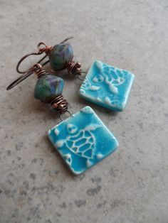 Turtle Cove ... Bicone Lampwork, Ceramic and Copper Wire-Wrapped Beachy, Boho Earrings