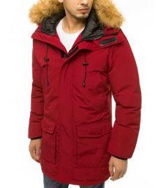 Bordová pánska zimná bunda s kapucňou Shinee, Metallica, Canada Goose Jackets, Hoods, Hooded Jacket, The North Face, Tommy Hilfiger, Raincoat, Winter Jackets