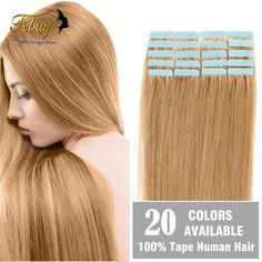 """Tape In Human Hair Extensions 18"""" 20"""" 22"""" 24"""" 20pcs/set Tape Hair Extension PU Hair Brazilian Remy Human Hair Skin Weft  -- Click the VISIT button to view the details"""